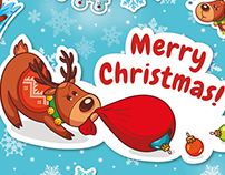 Christmas sticker set. Santa's deer