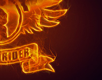 Shock Rider - Burning logo visual.