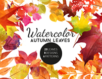 Watercolor autumn leaves creativemarket.com/Tat