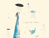Sous la pluie - illustration libre