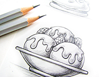 Desserts. Sketch illustrations.