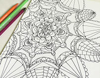 Hand-drawn mandala/zentangle patterns for coloring