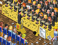 Singing in a choir (isometric vector illustration)