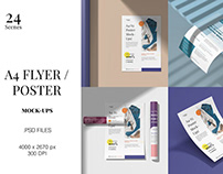 A4 Poster / Flyer Mockups - Get a Free to download!