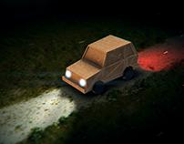 Travelling Cardboard Car