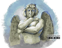 Angel: Digital Painting of a Male Statue