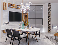 Scandinavia for a young family. Living-Dining room.