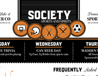 Society Bar Menu Design