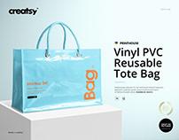 Vinyl PVC Reusable Tote Bag Mockups