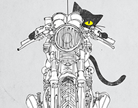 Cat Chicken Motorcycle Art Print