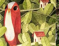passarinho vermelho e folhagens