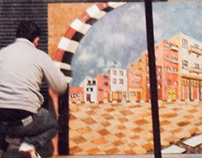 Art paintings Draw 3D with mosaic art