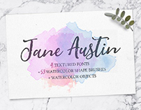 JANE AUSTIN - FREE FONT FAMILY & WATERCOLOR EXTRAS