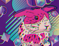 Cute pink bunny with patterns