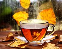Cup of hot tea.Autumn mood