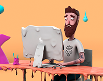 Too Hot to Work / 3d illustration