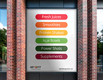 Get Fit Juices & Shakes – Logo, Identity Program, Print