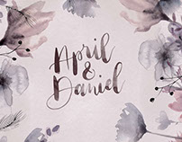 April & Dan - Hand Painted Wedding Invite Design
