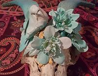 Multimedia Skull & Bird Piece