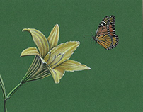 Photorealistic lily and monarch butterfly nature art