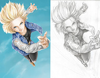 Android 18 Digital drawing