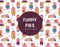 Funny Pigs Vector Free Pattern