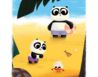 Pandas on the Beach
