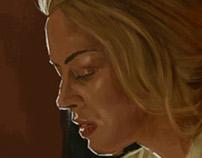 Pintura Digital: Moça na Penumbra