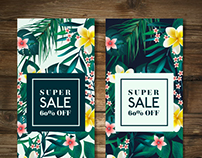 Tropical Vegetation Sale Banners for Freepik