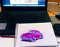 Pink Beetle Sketch
