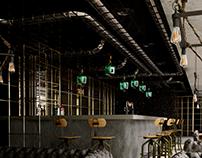 """3D visualization restaurant """"aut vincere aut more"""""""
