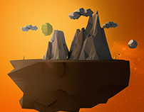 3D Floating Low Poly Island.