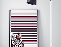 Stripes & Beauty : Illustrative Art Print