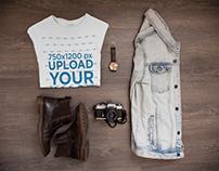 Style Set - Folded T-Shirt Mockup with Denim Jacket
