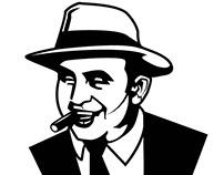 Vector portrait of Al Capone, mafia boss