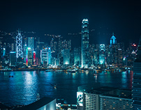 Night Photography City Sea