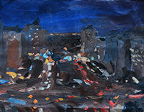 """Kiev at  night"" oils canvas 20x30"