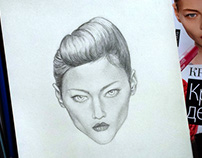Cool Girl's Face Pencil Drawing