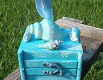 Seashell and Feathers Ring Bearer box