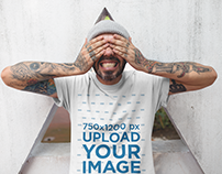 T-Shirt Mockup of a Middle Aged Man Playing Near a Tria