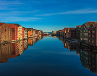 Nidelva in the City of Trondheim