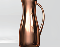 copper carafe with lid; cad 3d design
