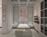 White & Pink Girl Bedroom Design