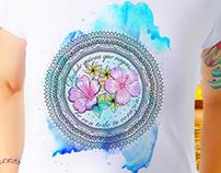 Mandala em Aquarela para Camiseta