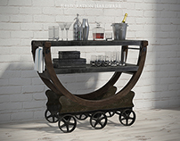 VINTAGE WALLPAPER FACTORY BAR CART