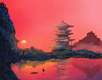 Spidpaint/landscape/digital illustration