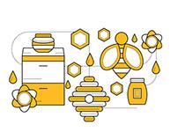 Set for branding honey
