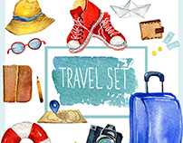 Traveling set. Vintage hand drawn travel objects.