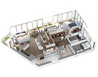 3BEDROOM APARTMENT 3D PLAN