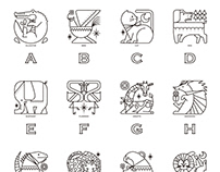 Animal coloring material for alphabet learning.